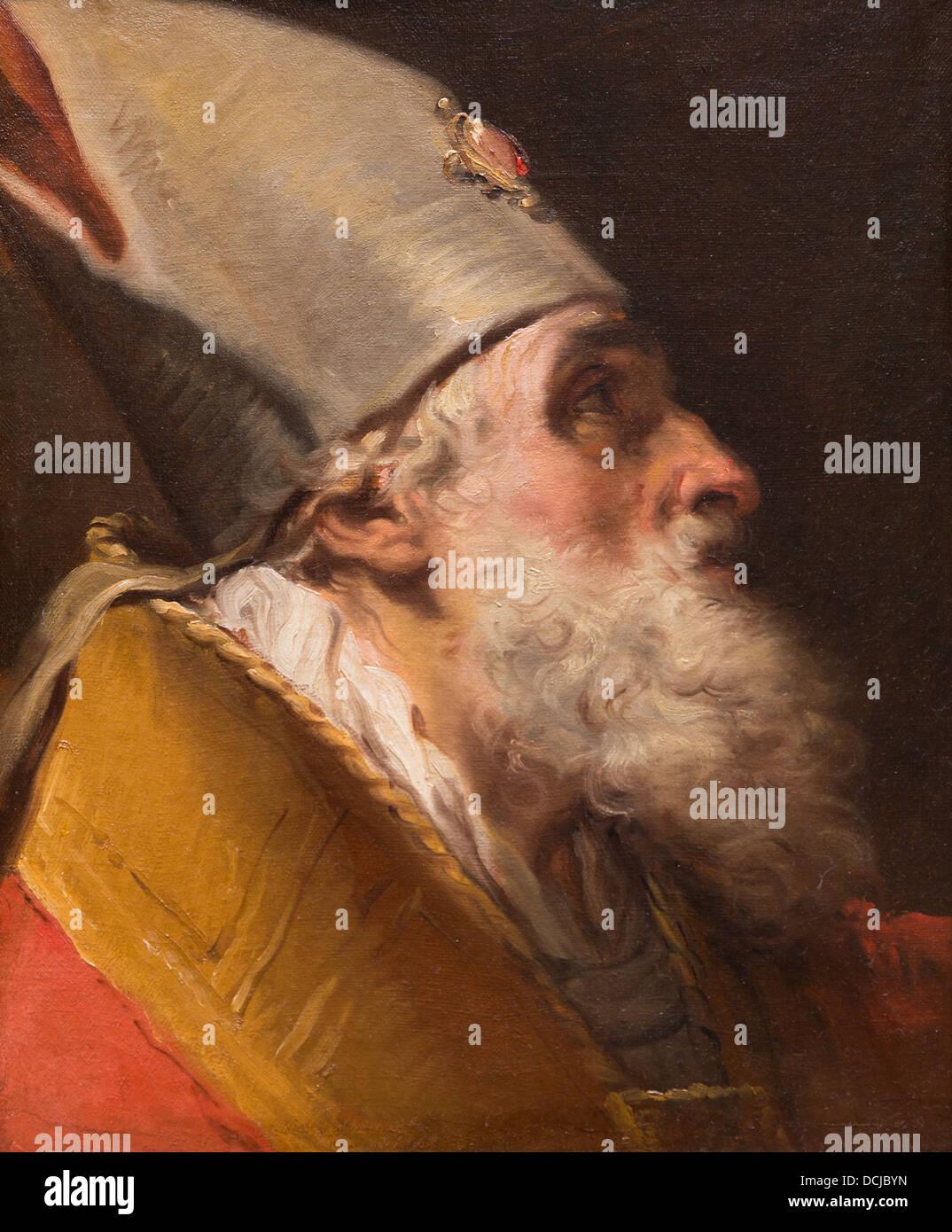 Il XVIII secolo - testa di un Vescovo, 1770 - Gaetano Gandolfi Philippe Sauvan-Magnet / Museo attivo Immagini Stock