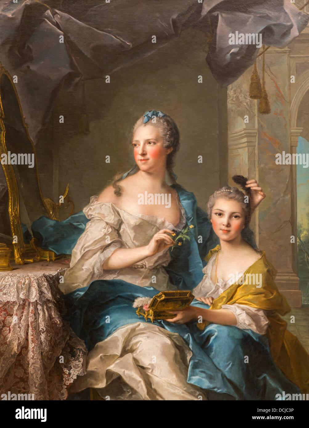Il XVIII secolo - Madame Marsollier e sua sorella,1749 - Jean Marc Nattier Philippe Sauvan-Magnet / Museo attivo Immagini Stock