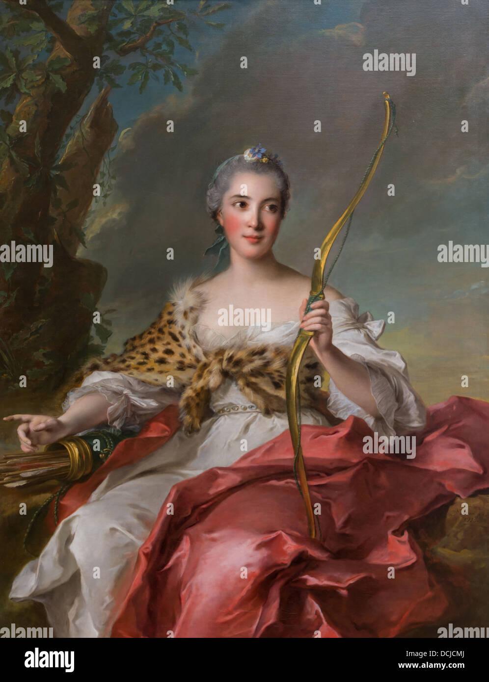 Il XVIII secolo - Madame de Maison-Rouge come Diana, 1756 - Jean Marc Nattier Philippe Sauvan-Magnet / Museo attivo Immagini Stock