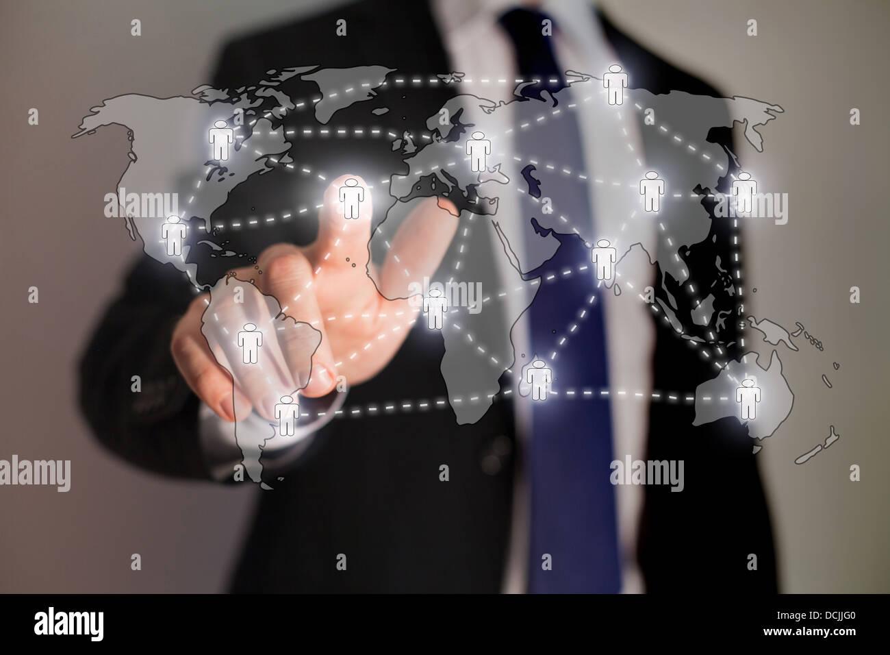 Rete sociale e di tecnologie aziendali Immagini Stock