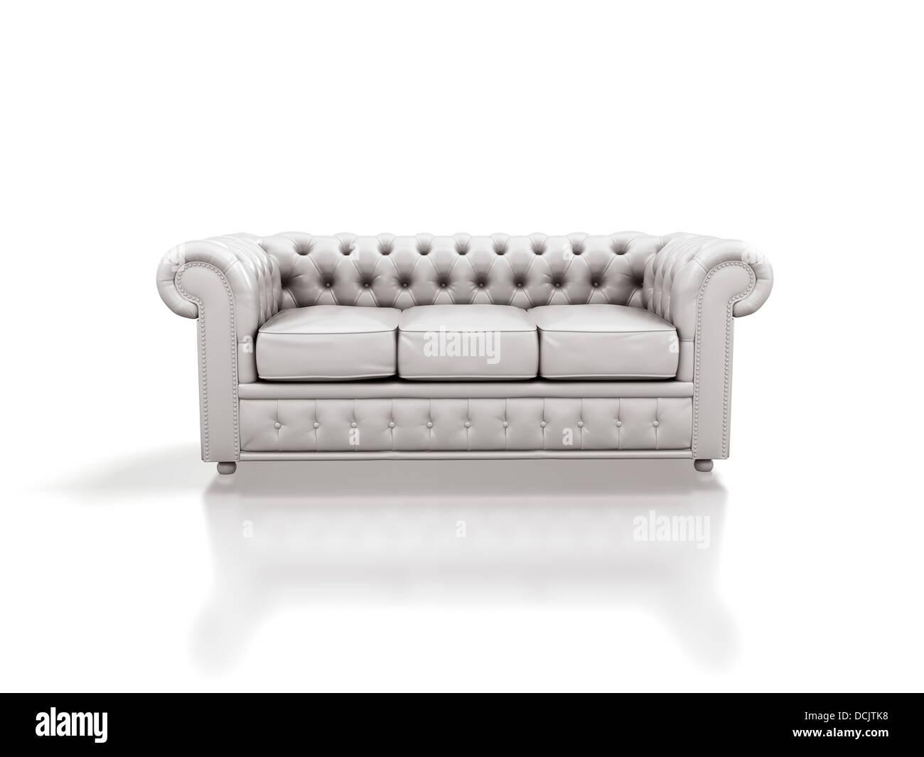 Con un divano in pelle bianca isolata su sfondo bianco Foto ...