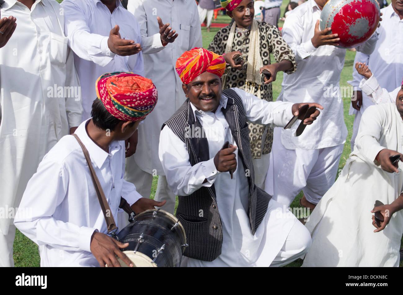 Rajasthani musicisti folk - Jaipur, Rajasthan, India Immagini Stock