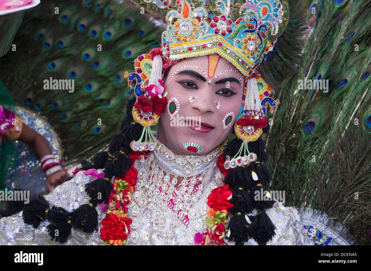 Rajasthani ballerini folk - Jaipur, Rajasthan, India Immagini Stock