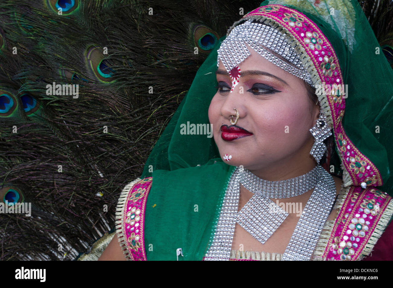 Rajasthani ballerini folk Jaipur, Rajasthan, India Immagini Stock