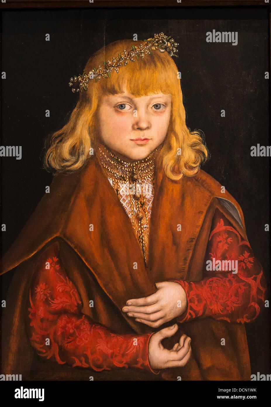 Xvi secolo - un principe di Saxonny - Lucas Cranach il Vecchio (1517) - National Gallery di Washington - olio su Immagini Stock