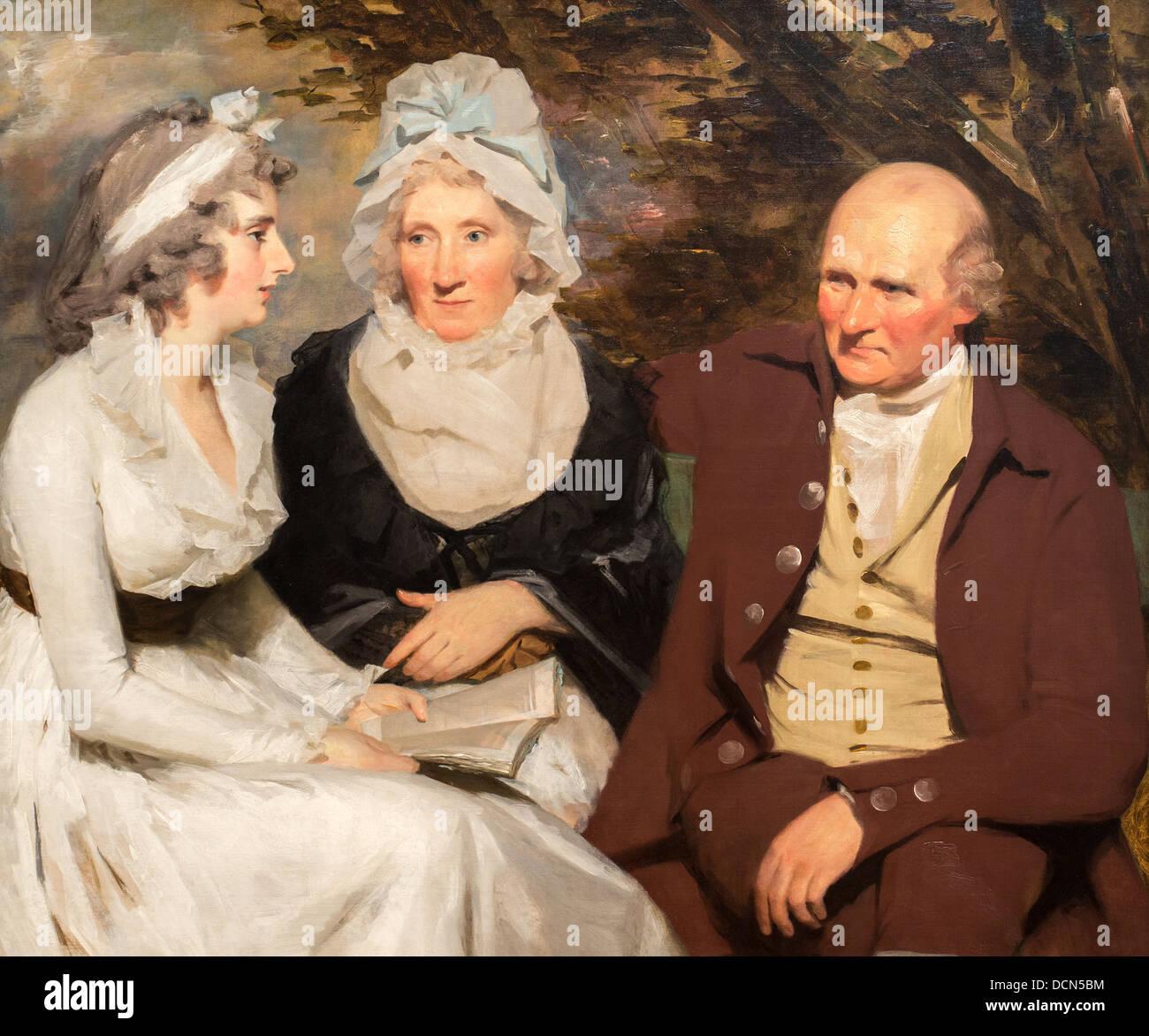 Il XVIII secolo - John Johnstone, Betty Johnstone e Miss Wedderburn - Sir Henry Raeburn (1790) Immagini Stock