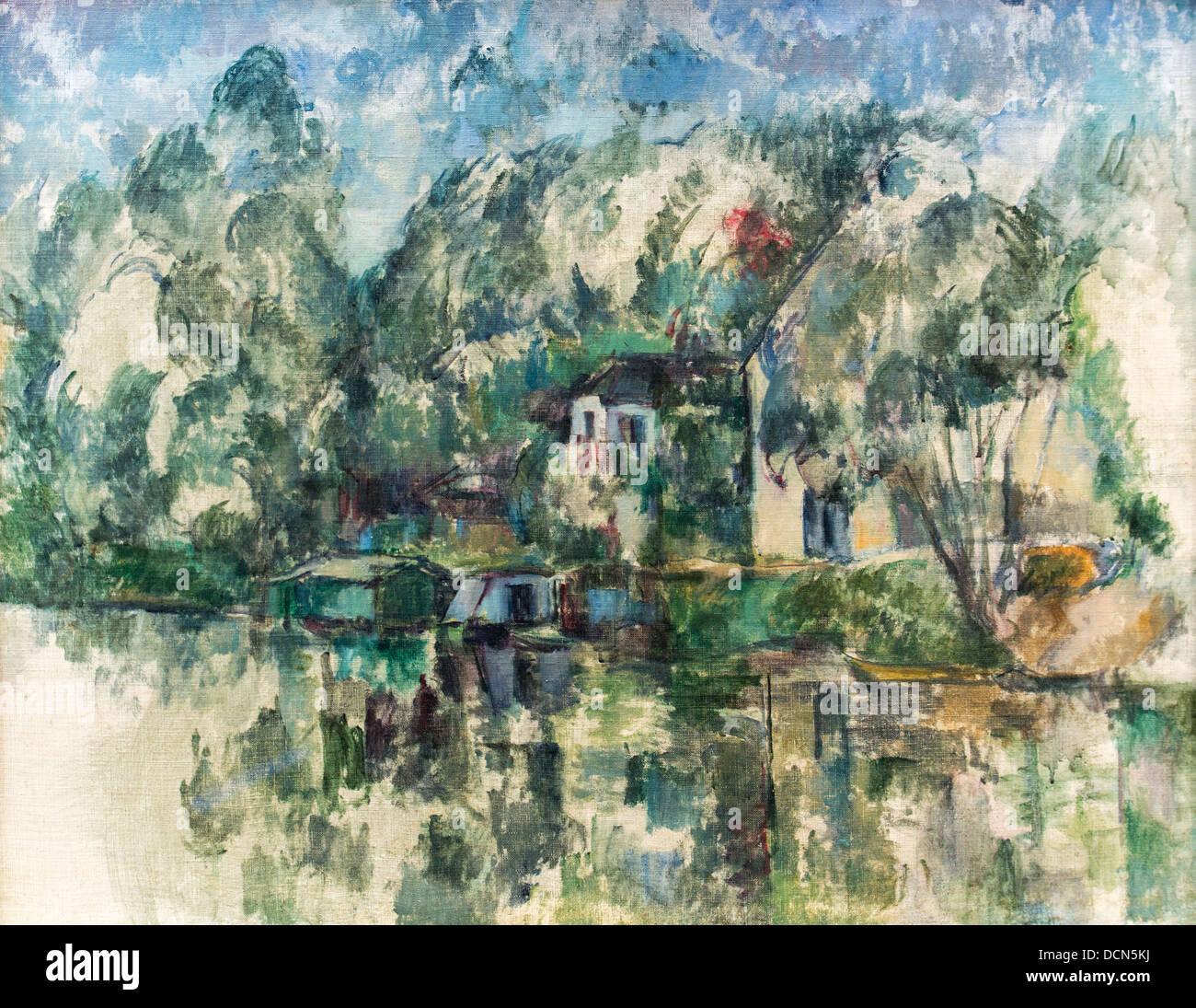 Xix secolo - a bordo dell'acqua - Paul Cézanne (1890) Philippe Sauvan-Magnet / Museo attivo Immagini Stock