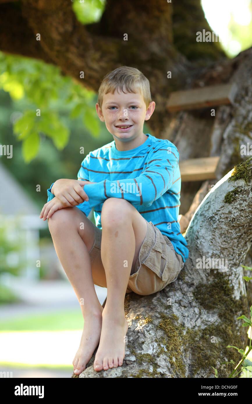 Ritratto di giovane ragazzo seduto nella struttura ad albero Foto Stock