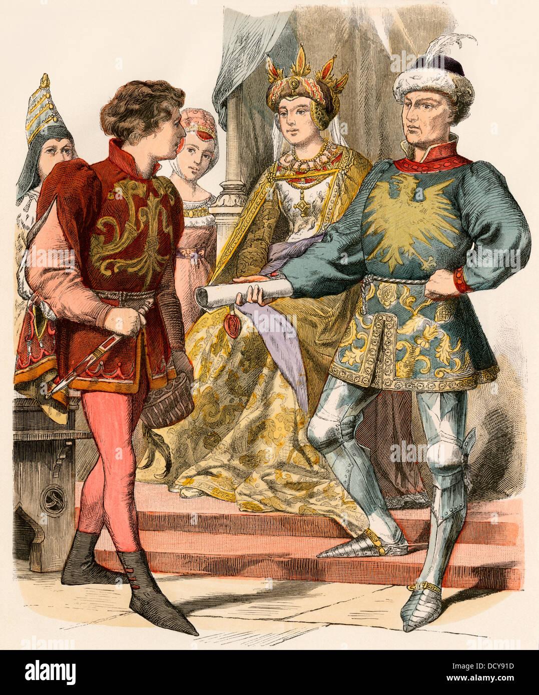 Nobiltà borgognona nei tardi 1400s. Colorate a mano la stampa Immagini Stock