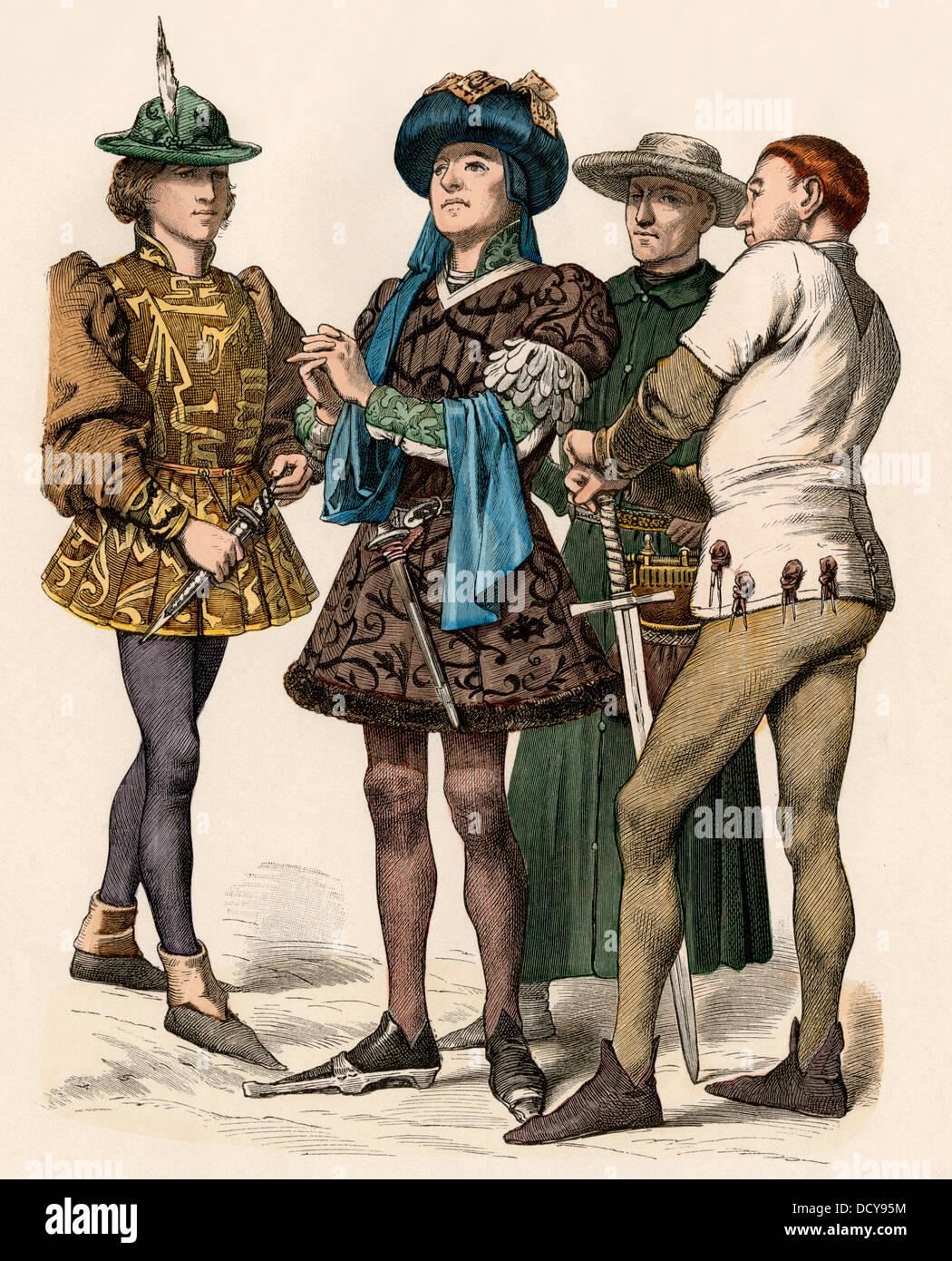 Burgundian nobiltà nel 1400s. Colorate a mano la stampa Immagini Stock