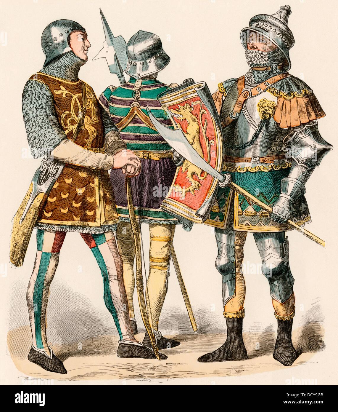 Burgundian archer indossando mail a catena e un cavaliere in armatura, 1470. Colorate a mano la stampa Immagini Stock