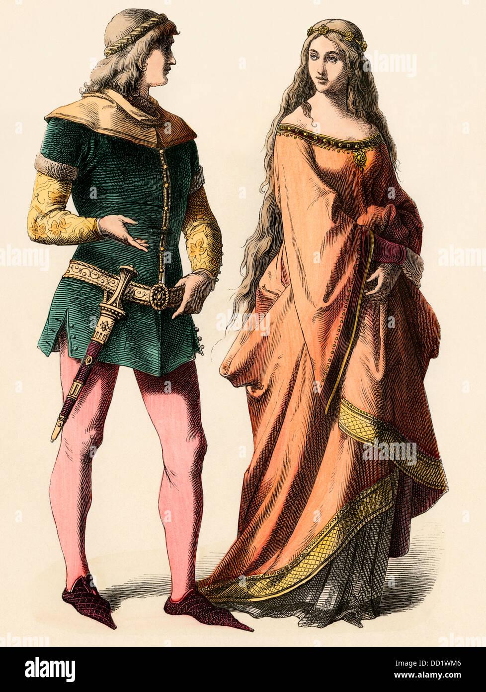 Cavaliere tedesco e una signora, 1300s. Colorate a mano la stampa Foto Stock