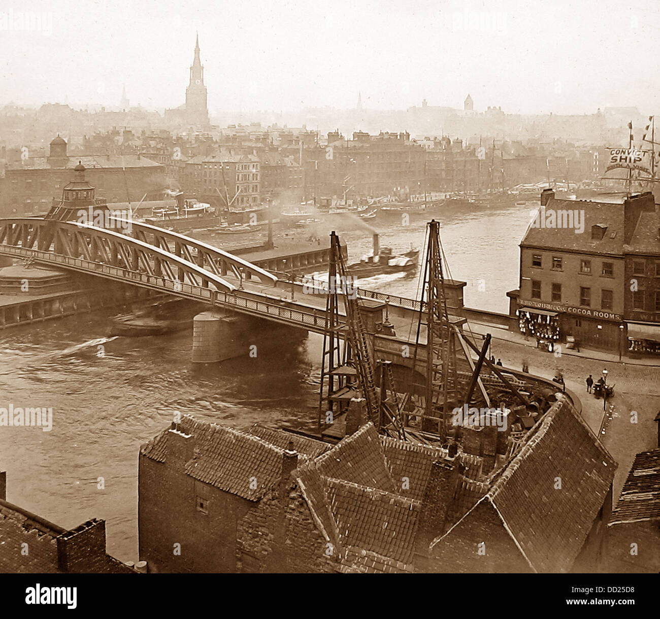 Newcastle-upon-Tyne Bridge Swing periodo Vittoriano Immagini Stock