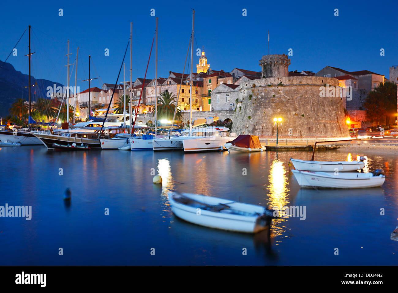 La città di Korcula, Croazia Immagini Stock