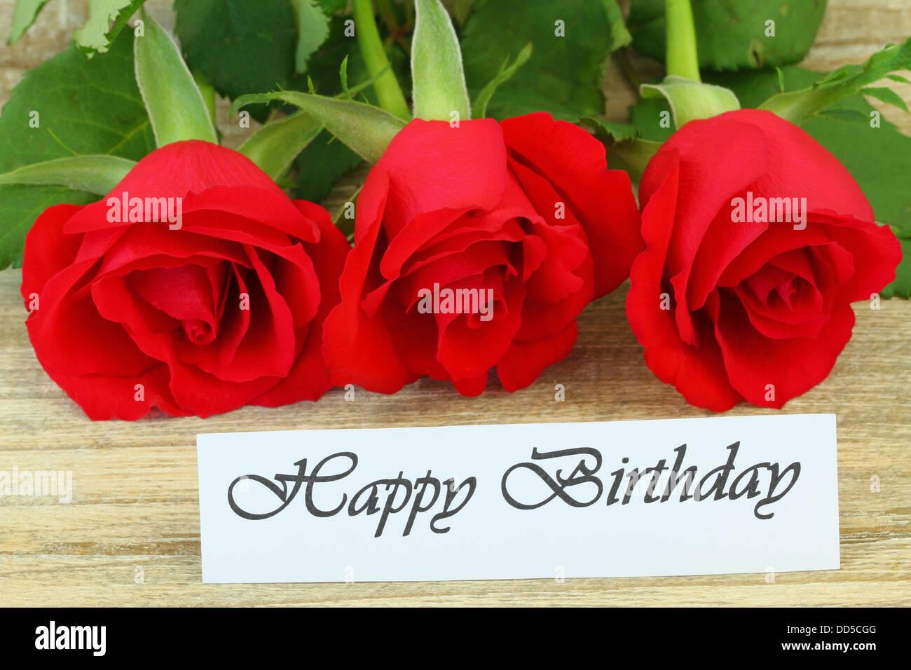 Buon Compleanno Card Con Rose Rosse Foto Immagine Stock 59741264