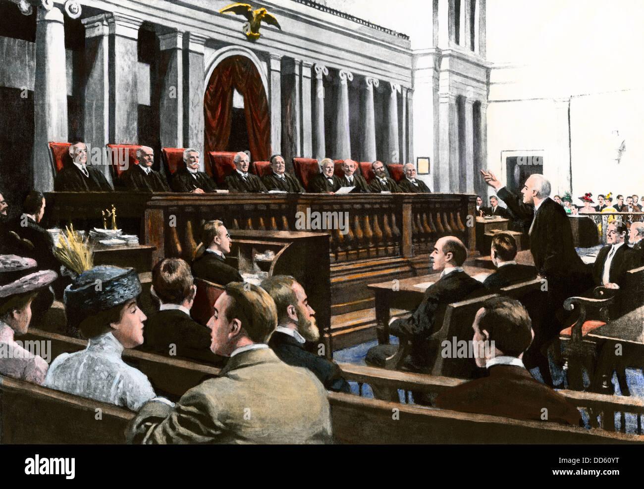 Un argomento prima che la Corte suprema degli Stati Uniti, capo della giustizia presiede bianco, 1910. Colorate Immagini Stock