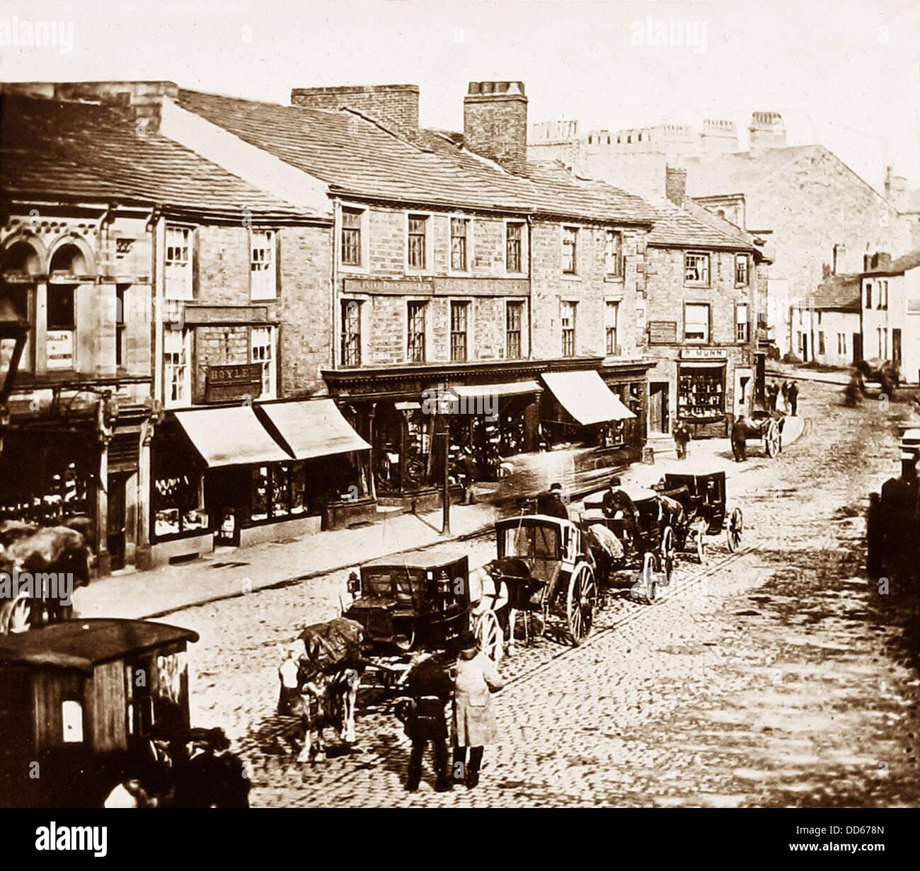 Centro di Burnley in 1880 Immagini Stock