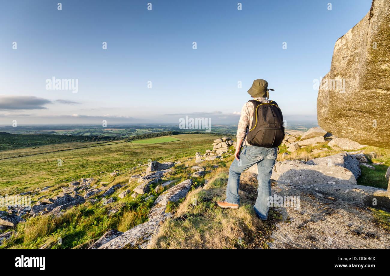Escursioni a Kilmar Toor a Bodmin Moor in Cornovaglia Immagini Stock