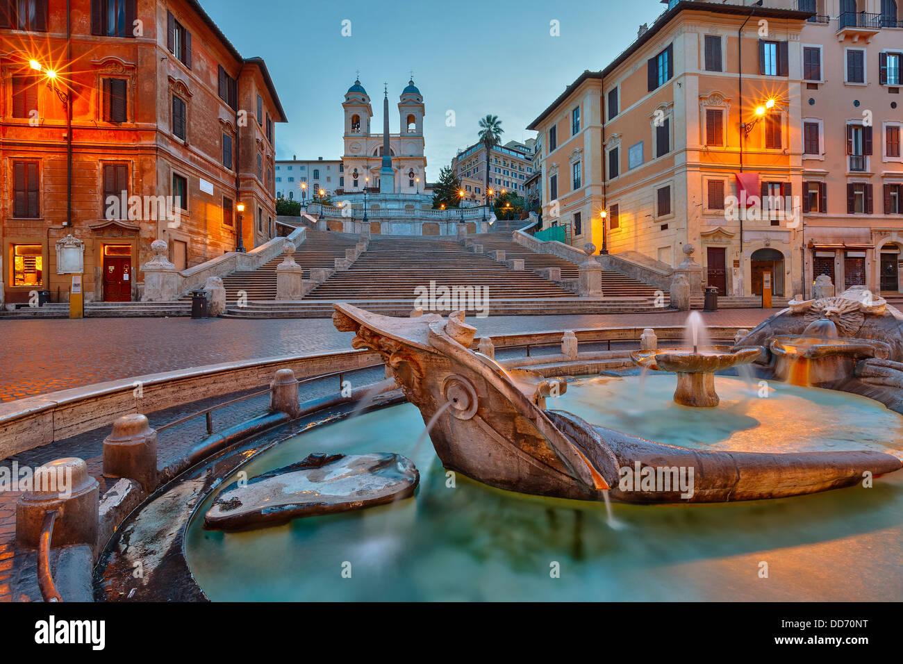 Scalinata di piazza di Spagna al crepuscolo, Roma Immagini Stock