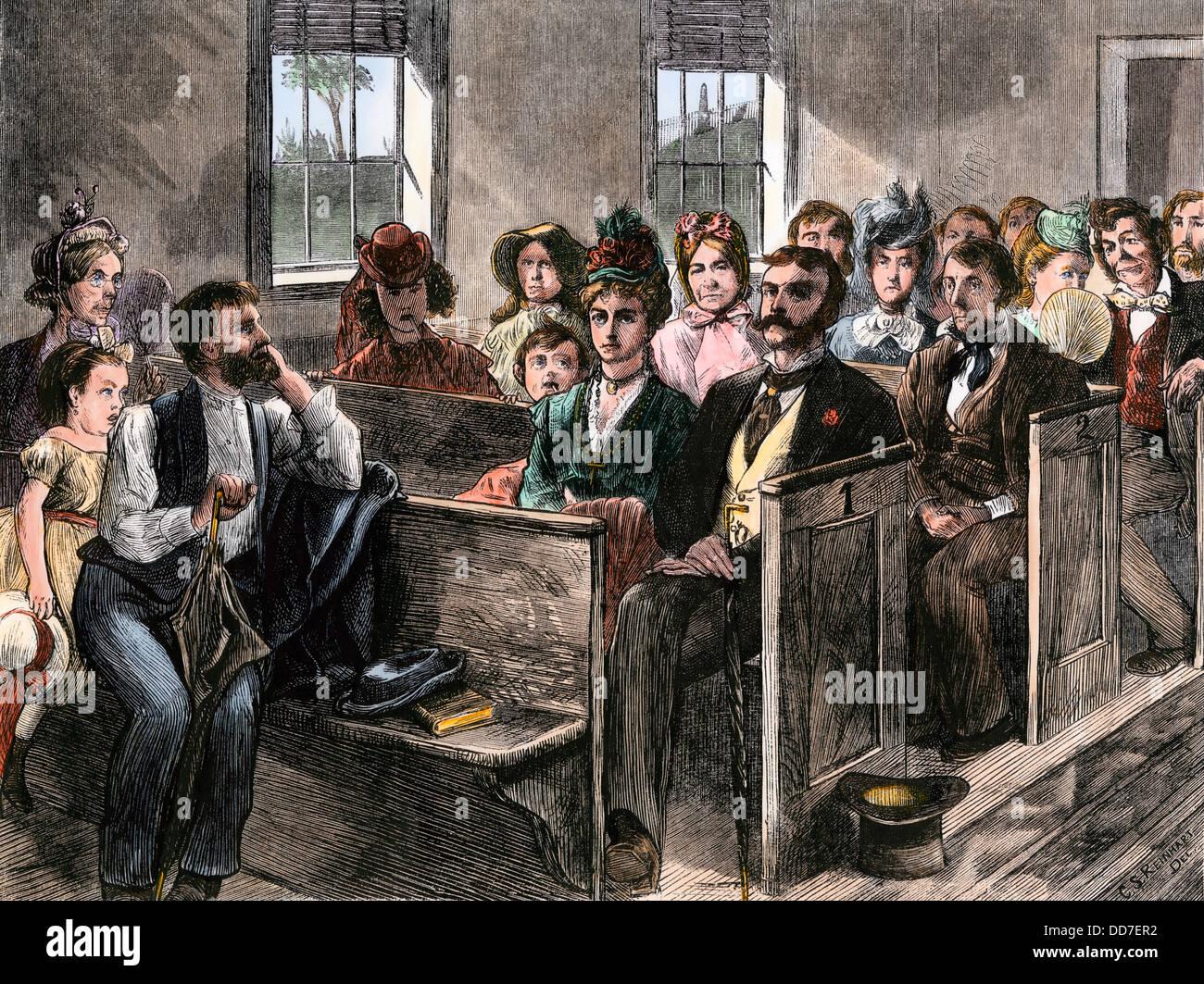 Città persone che frequentano una chiesa di campagna, 1870s. Colorate a mano la xilografia Immagini Stock