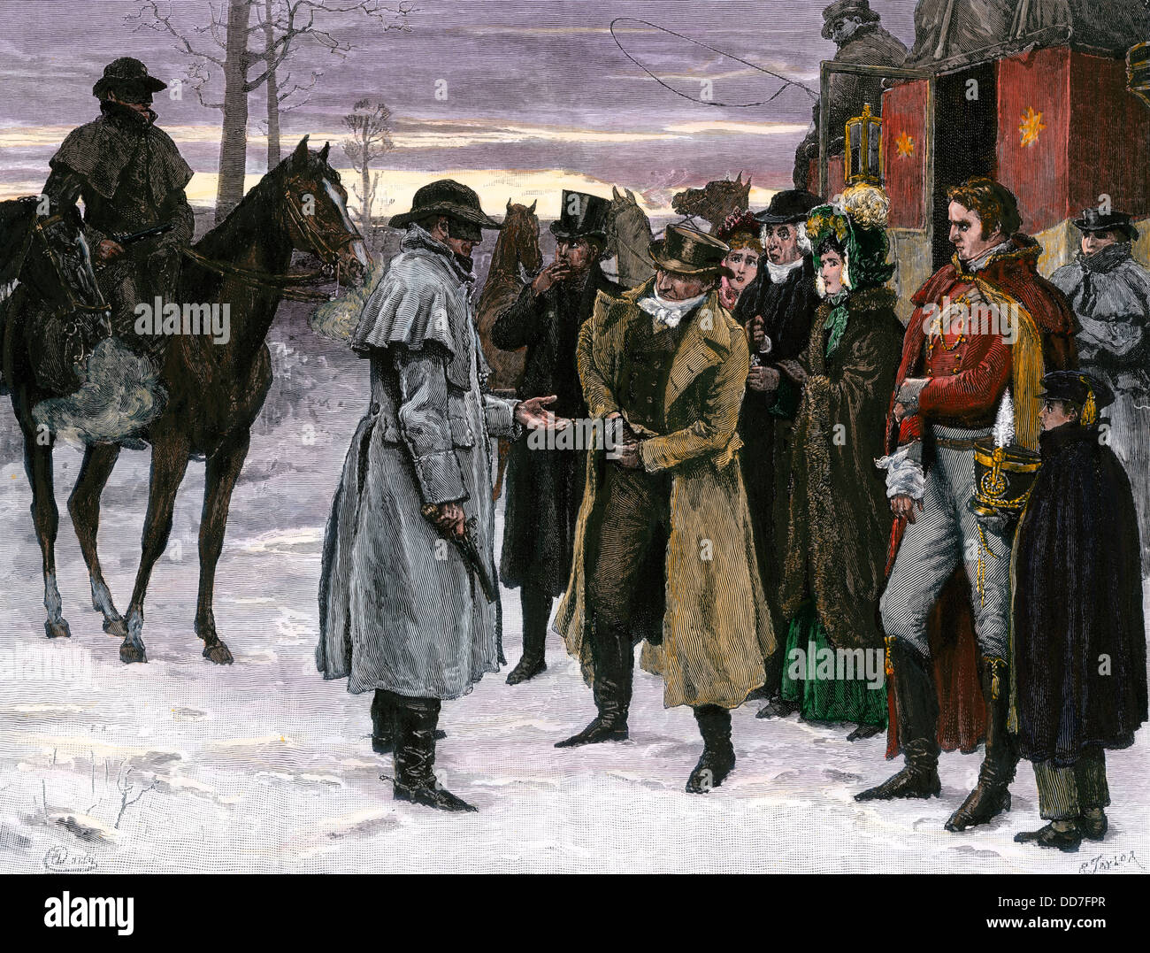Banditi di rapinare stagecoach passeggeri su il Re della strada statale, Inghilterra, 1700s. Colorate a mano la Immagini Stock