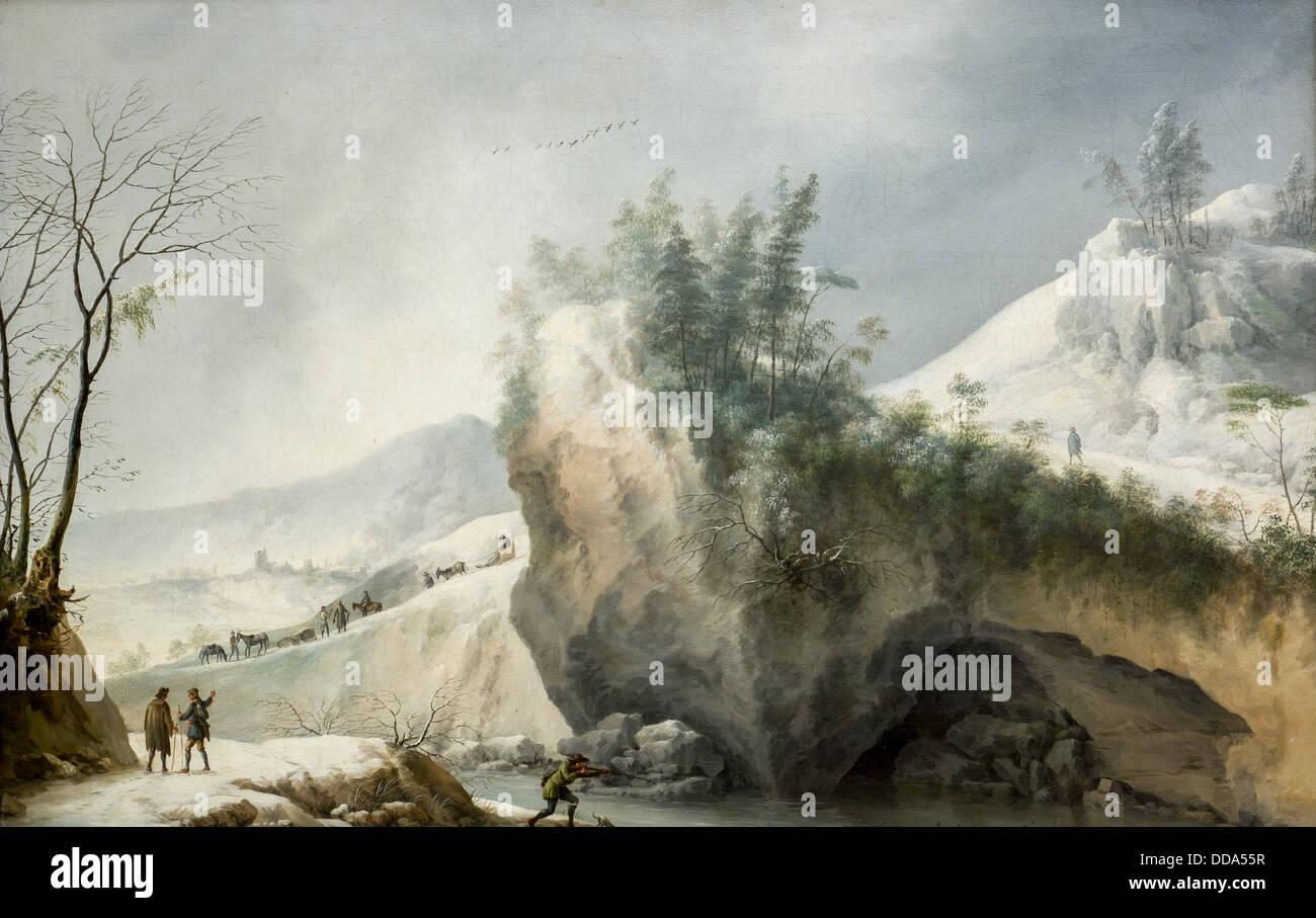 Il XVIII secolo - la neve paesaggio con rocce e viaggiatori, 1750 - Francesco Foschi Olio su tela Immagini Stock