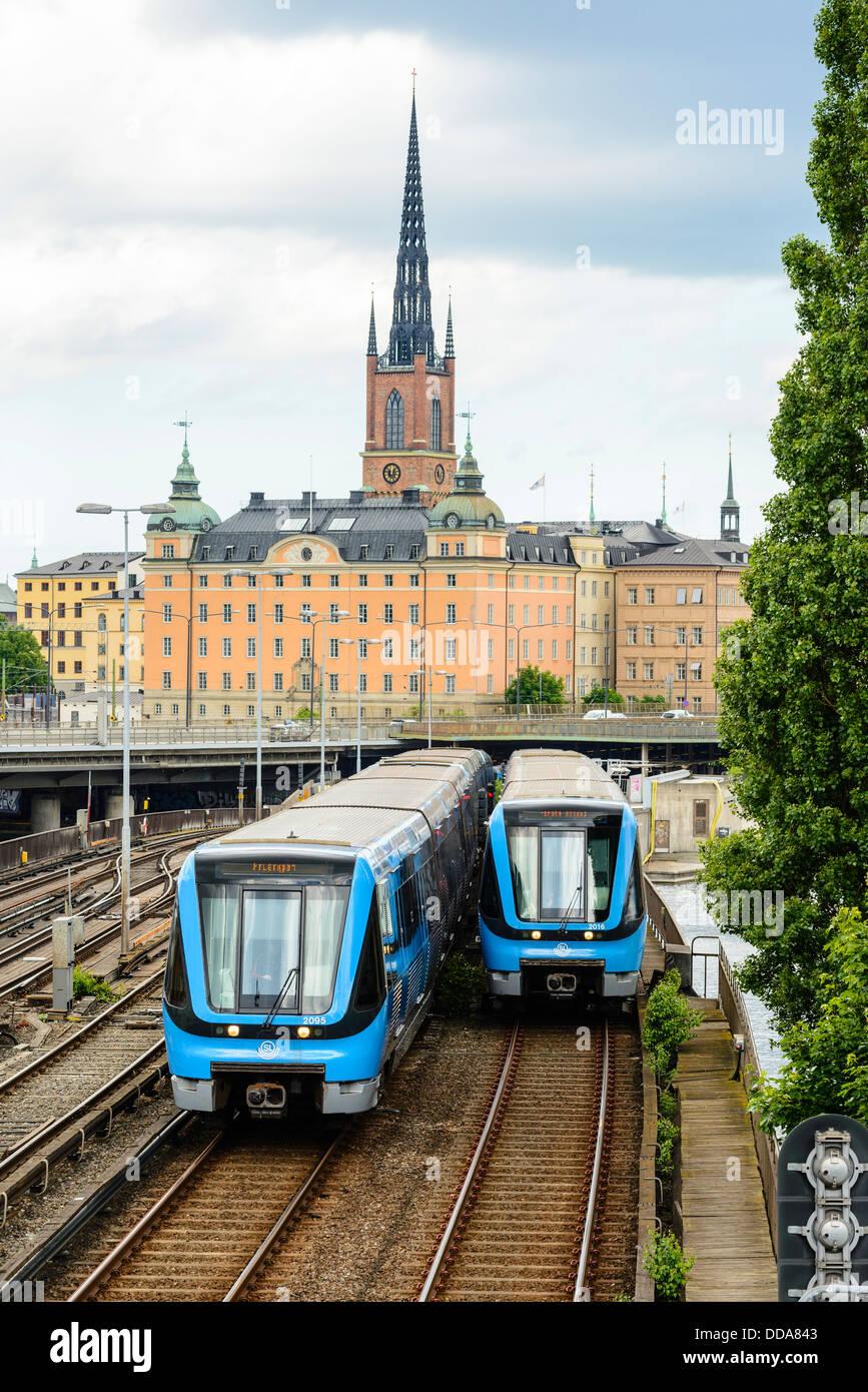 La metropolitana (T-bana) treni di Stoccolma Svezia Immagini Stock