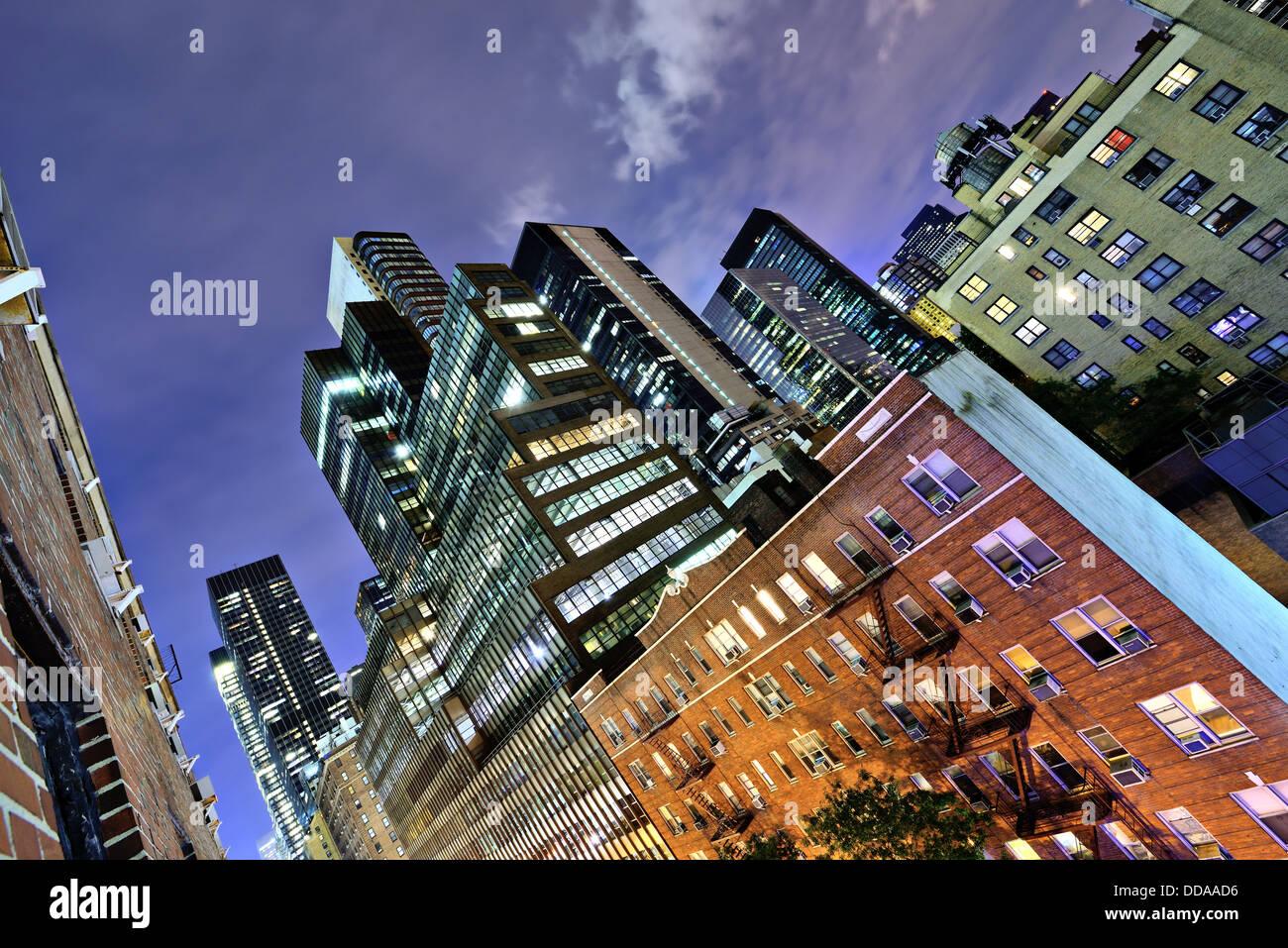 Edifici per uffici nel centro di Manhattan. Immagini Stock