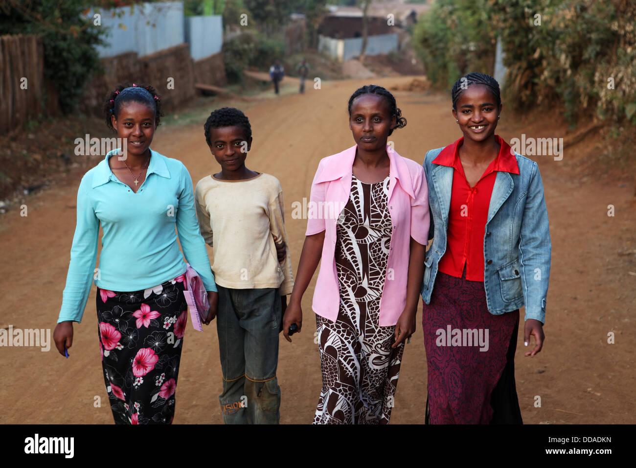 La vita quotidiana in Amboa, Etiopia occidentale. Immagini Stock