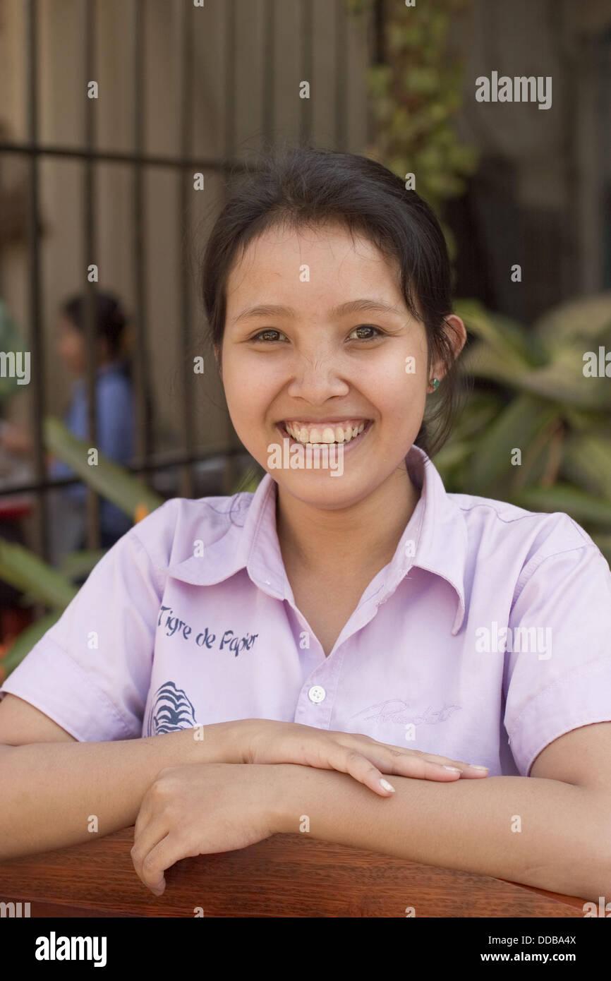 Ragazza cambogiano Portret. Siem Reap City Immagini Stock