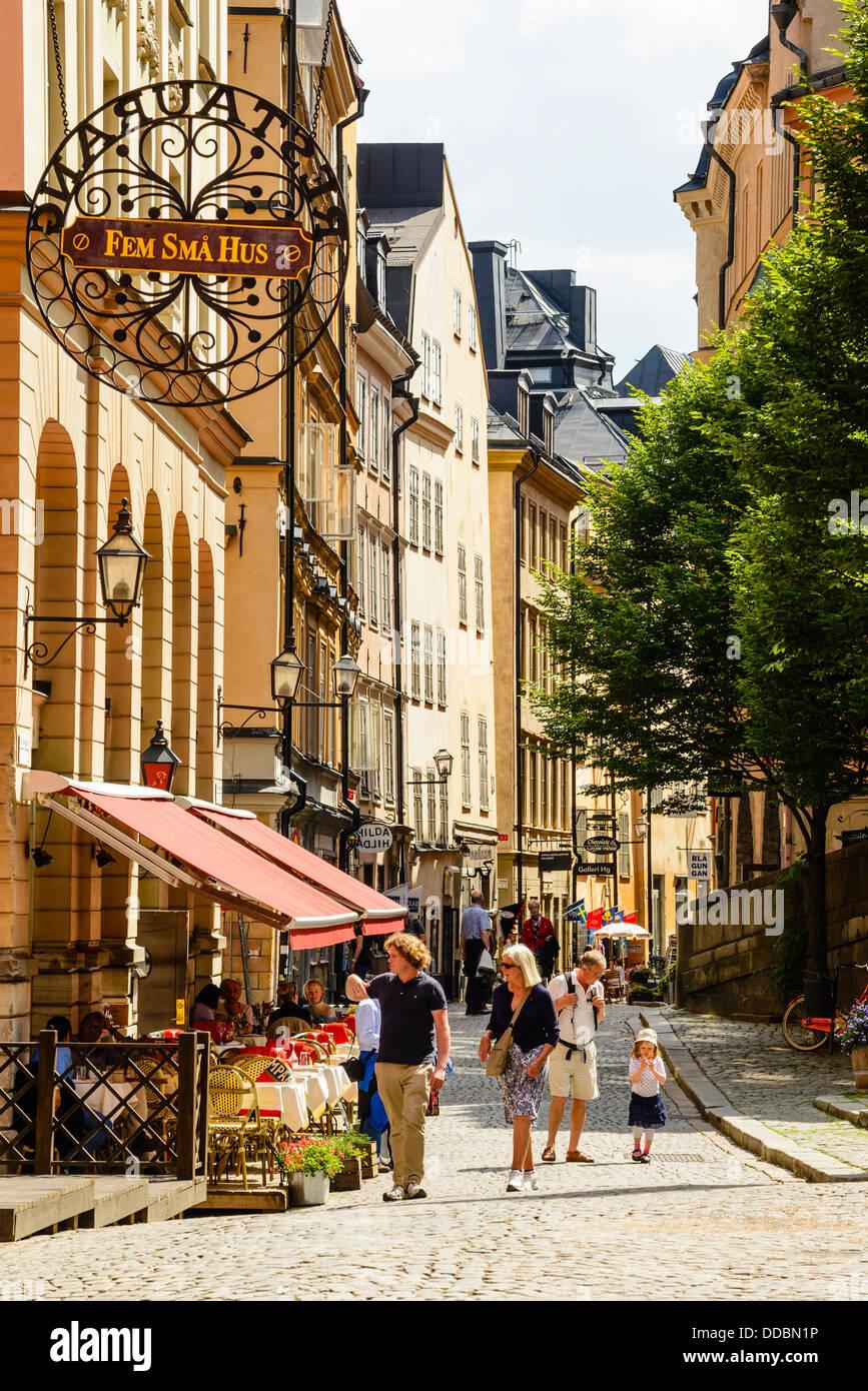 Street a Gamla Stan (la Città Vecchia) Stoccolma Svezia Immagini Stock