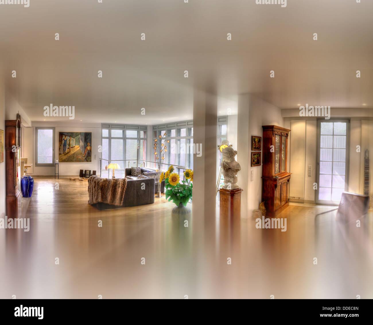 Architettura contemporanea: livingroom impostazione (immagine HDR) Immagini Stock
