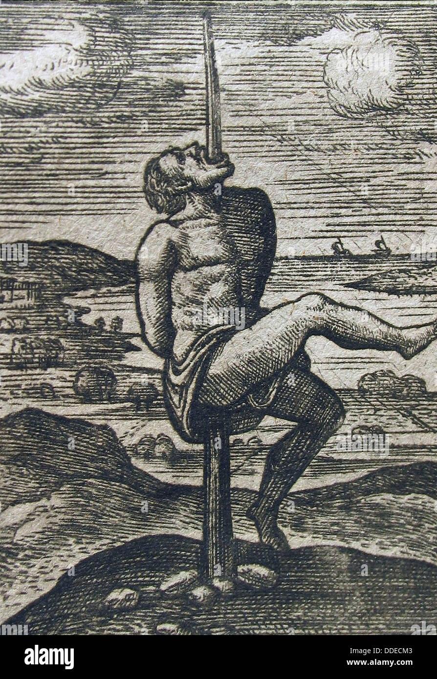 Impalement, esecuzione da impalement, fissare Immagini Stock