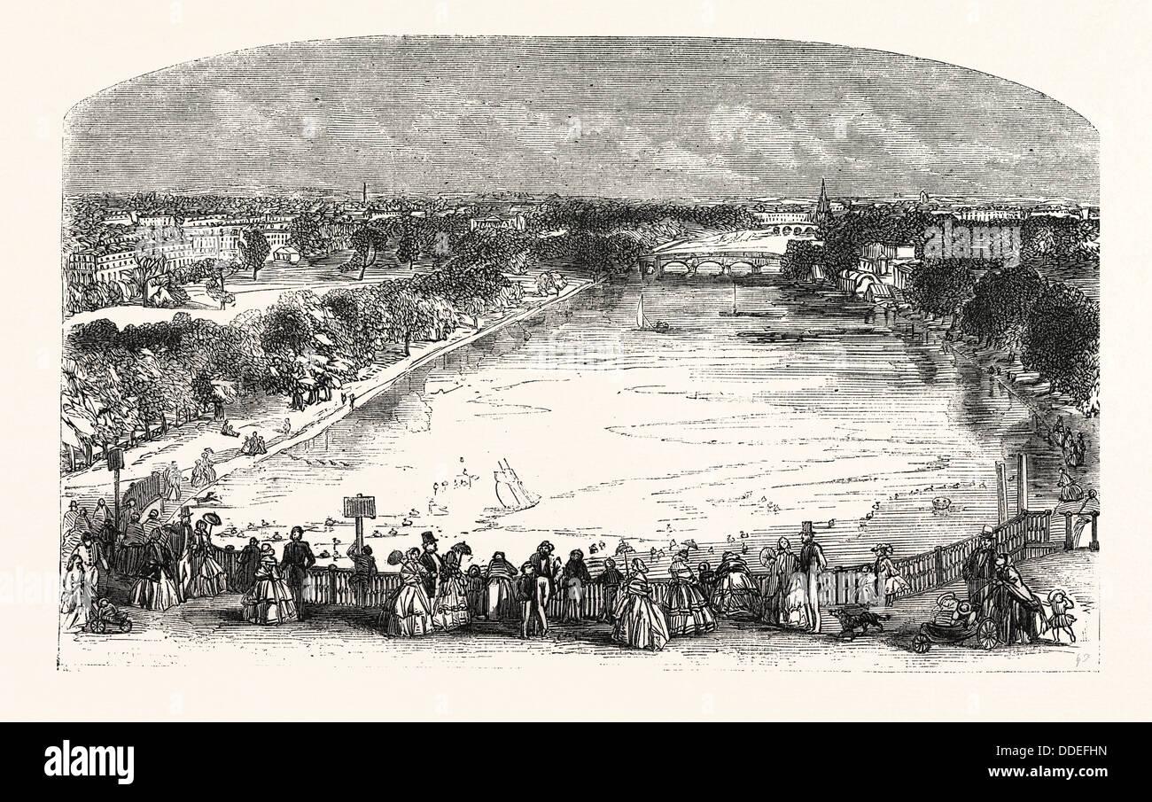 La serpentina, noto anche come il fiume a serpentina è un lago da diporto in Hyde Park, Londra, Inghilterra, Immagini Stock