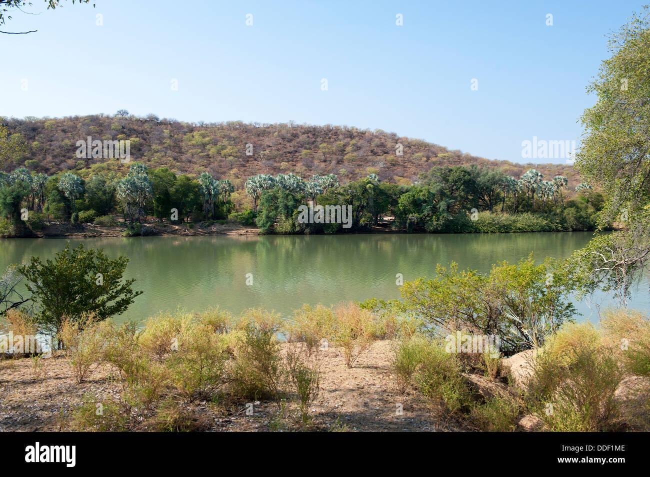 Il fiume Kunene in Namibia è il fiume di confine con l'Angola Foto Stock