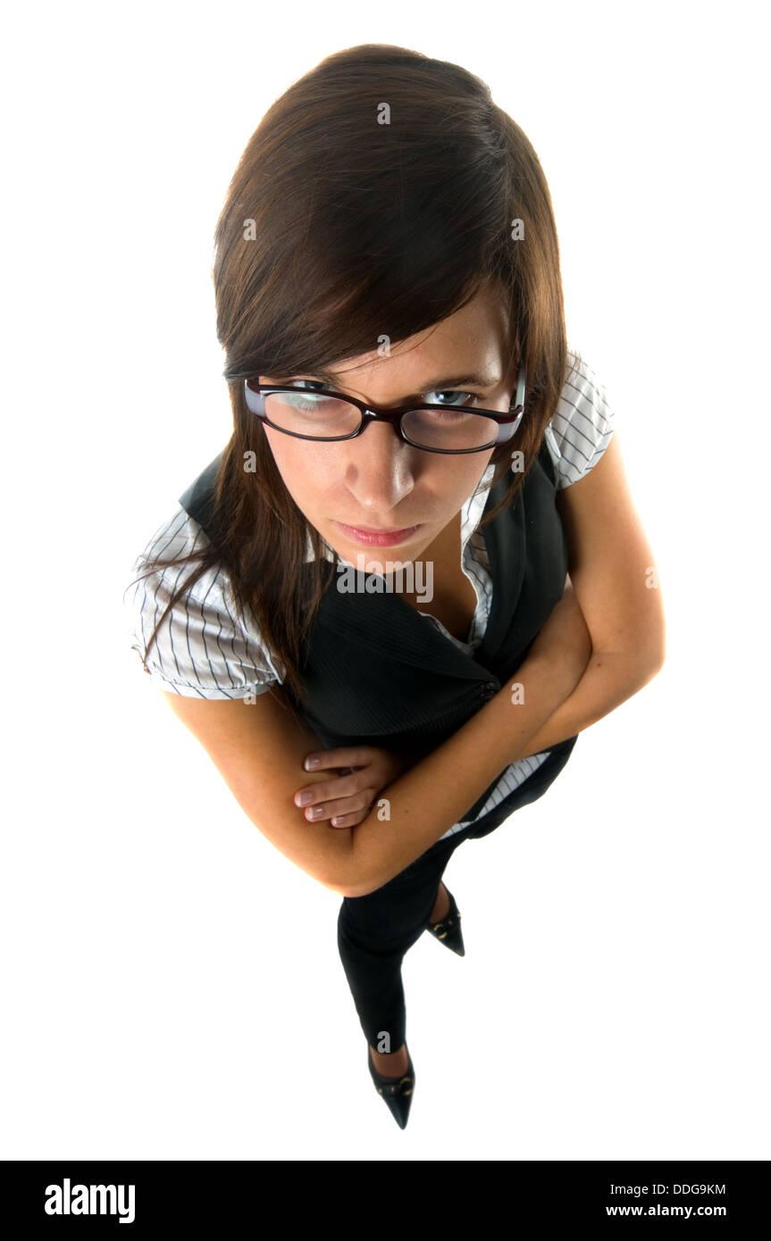 Strict / arrabbiato-cercando insegnante / business donna / executive isolati su sfondo bianco Immagini Stock