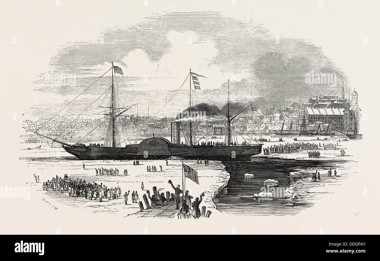 Il 'BRITANNIA' STEAMSHIP LASCIANDO Boston, USA, 1847 Immagini Stock