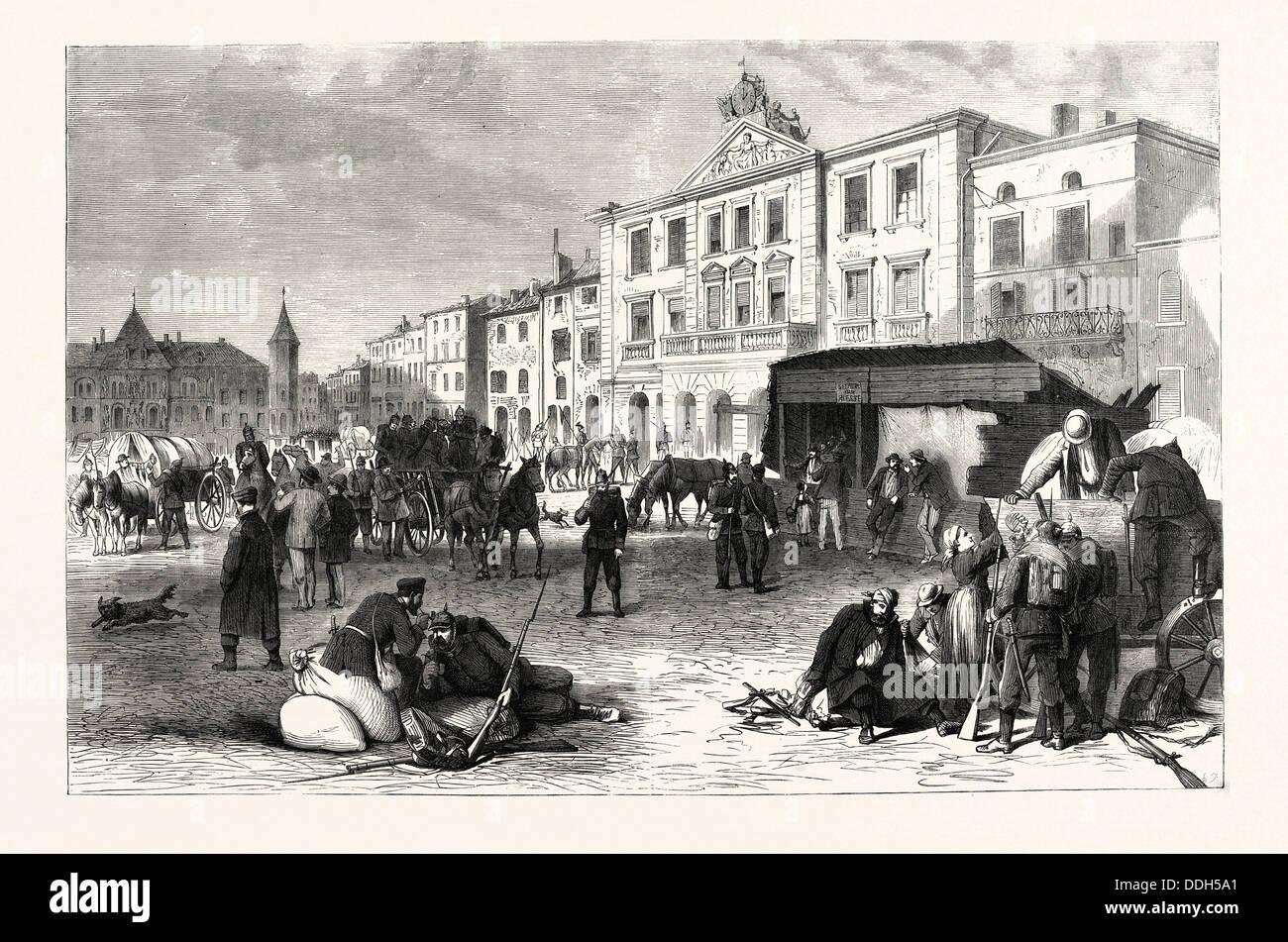 FRANCO-prussiana di guerra: LA PIAZZA DEL MERCATO E LA CITTÀ DI PONT-A-MOUSSON, 19 agosto 1870 Immagini Stock