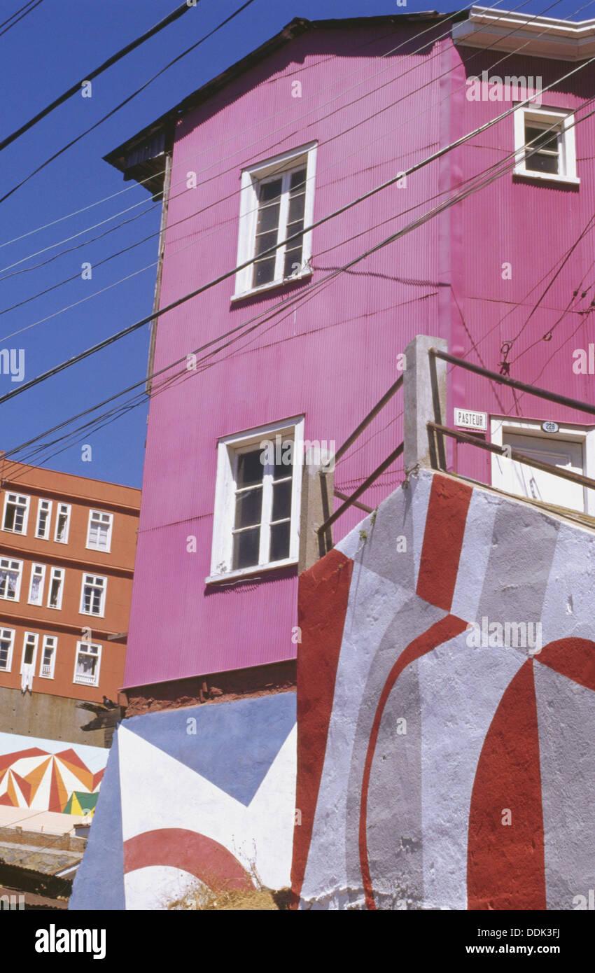 Open Air Museum un cielo abierto murali. Cerro Bellavista. Valparaíso. Il Cile. Immagini Stock