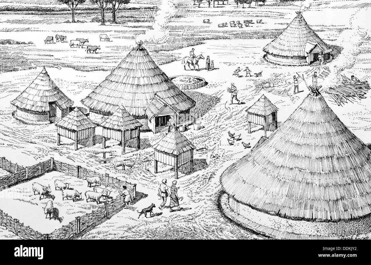 Età del ferro di insediamento, c400-C150 BC. Artista: Derek Lucas Immagini Stock