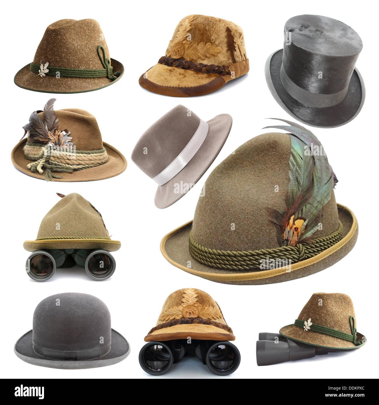 Raccolta di oktoberfest e caccia cappelli vintage isolate su sfondo bianco 3abd3ae57ebb