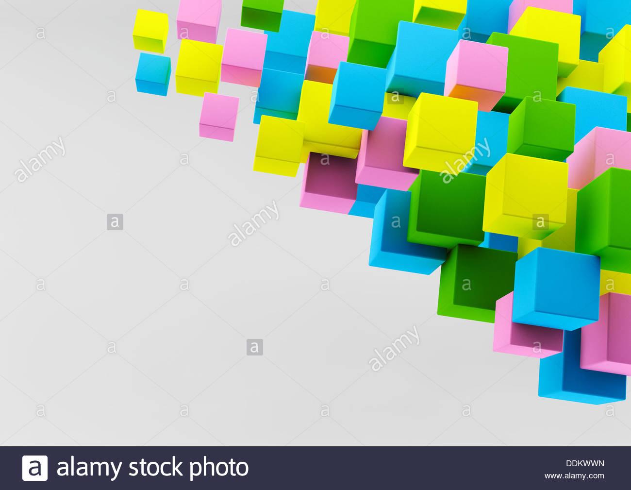 Abstract flottante cubetti multicolore Immagini Stock
