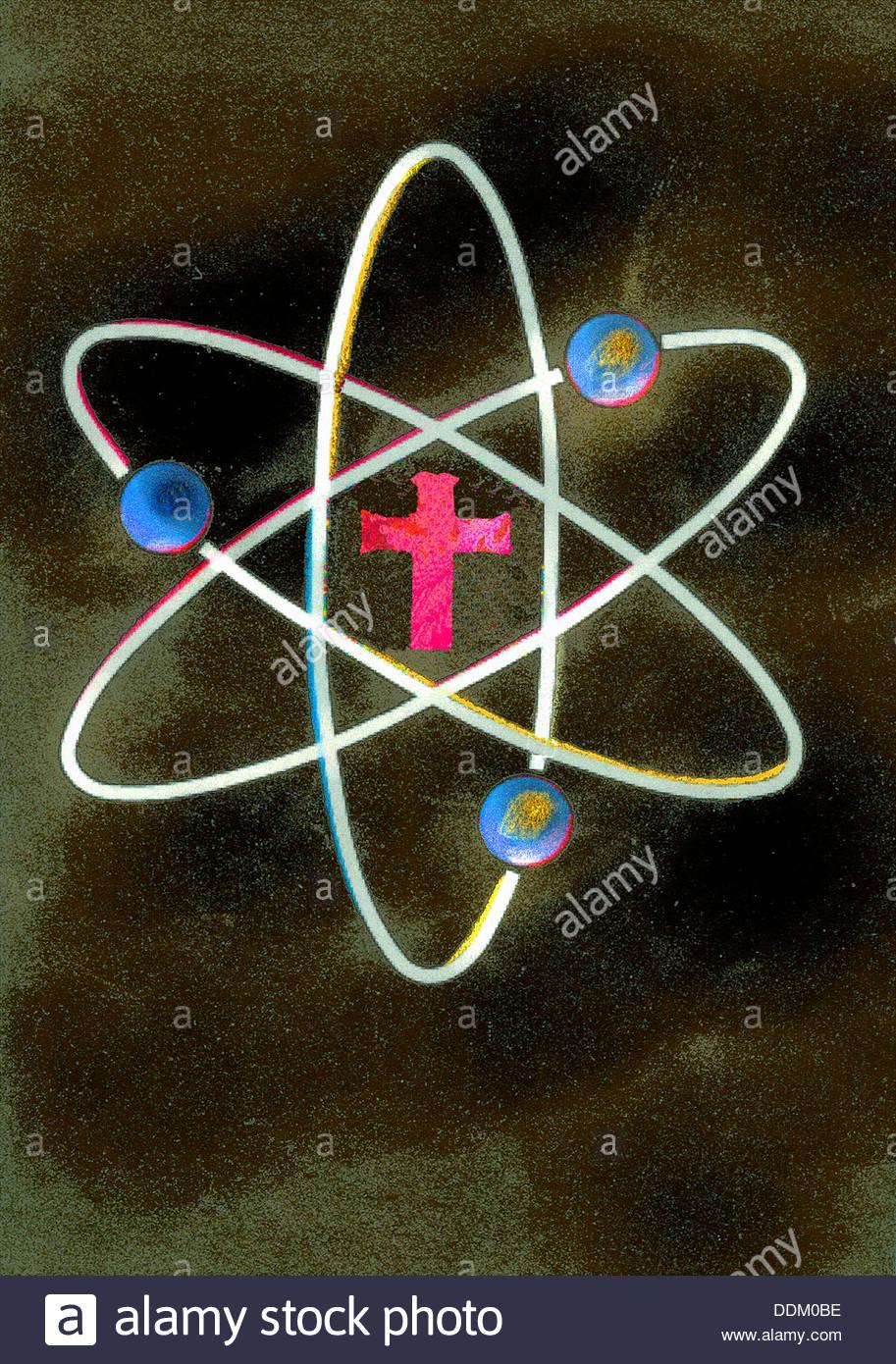 Croce al centro del simbolo di atomo Immagini Stock