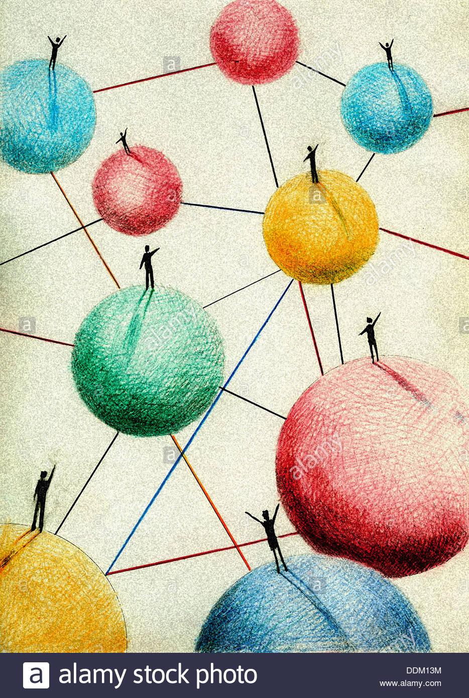 Persone sventolando in piedi su sfere collegate Immagini Stock