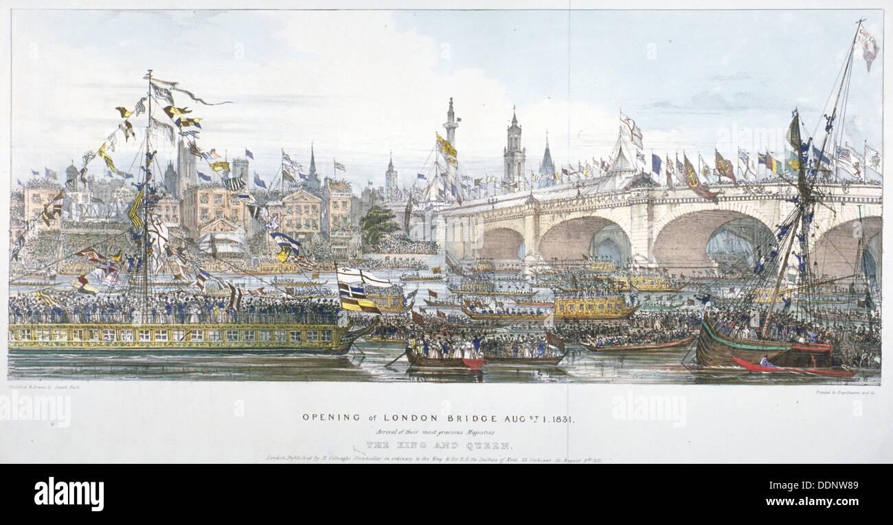 Cerimonia di inaugurazione del nuovo ponte di Londra, 1831. Artista: Englemann, Graf e Co Foto Stock