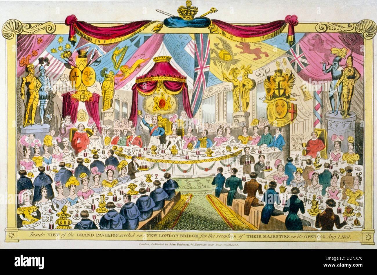 Inaugurazione regale di London Bridge, 1831. Artista: Anon Foto Stock