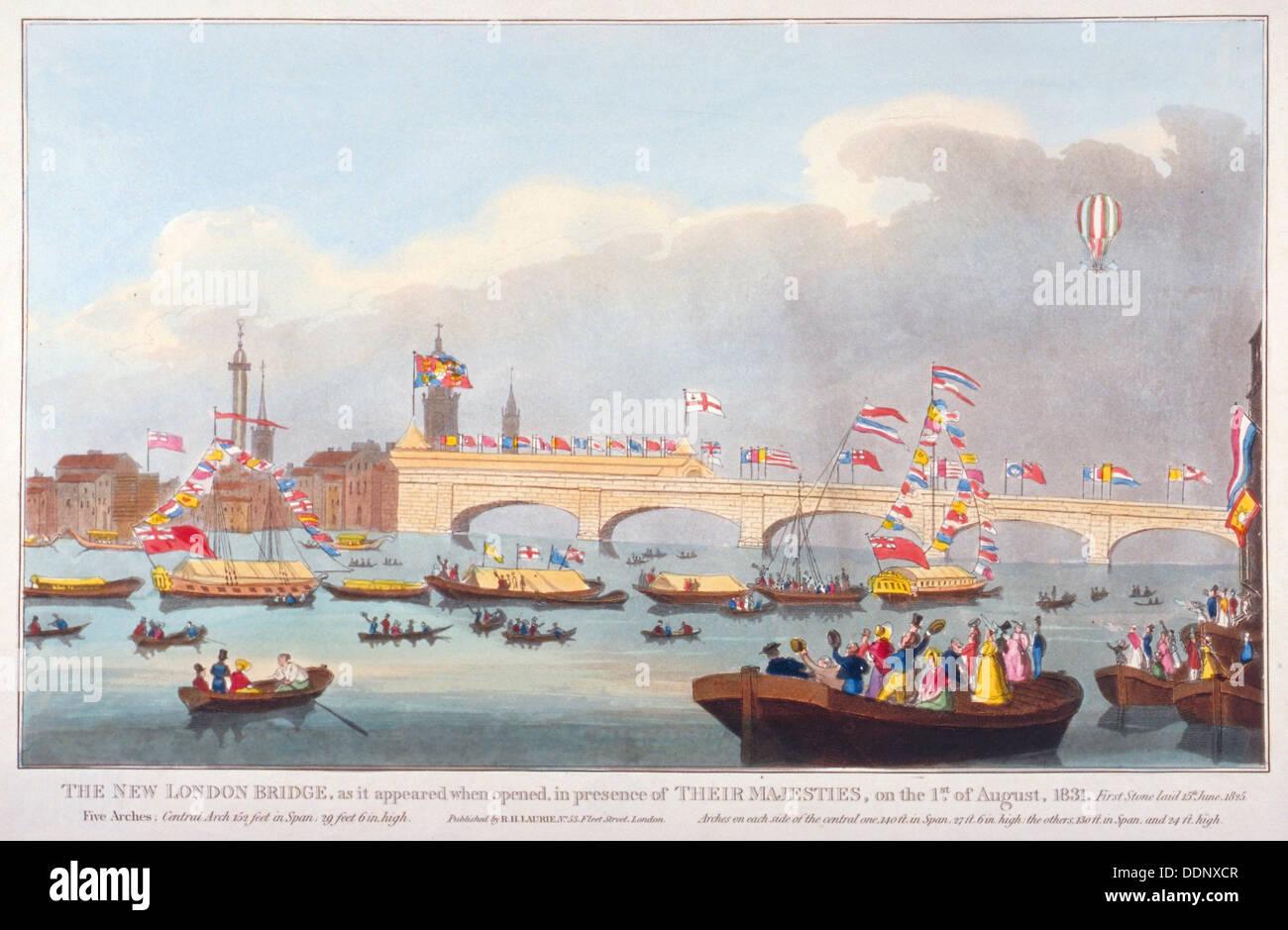 L'apertura del ponte di Londra da Re Guglielmo IV e la regina Adelaide, 1831. Artista: Anon Foto Stock