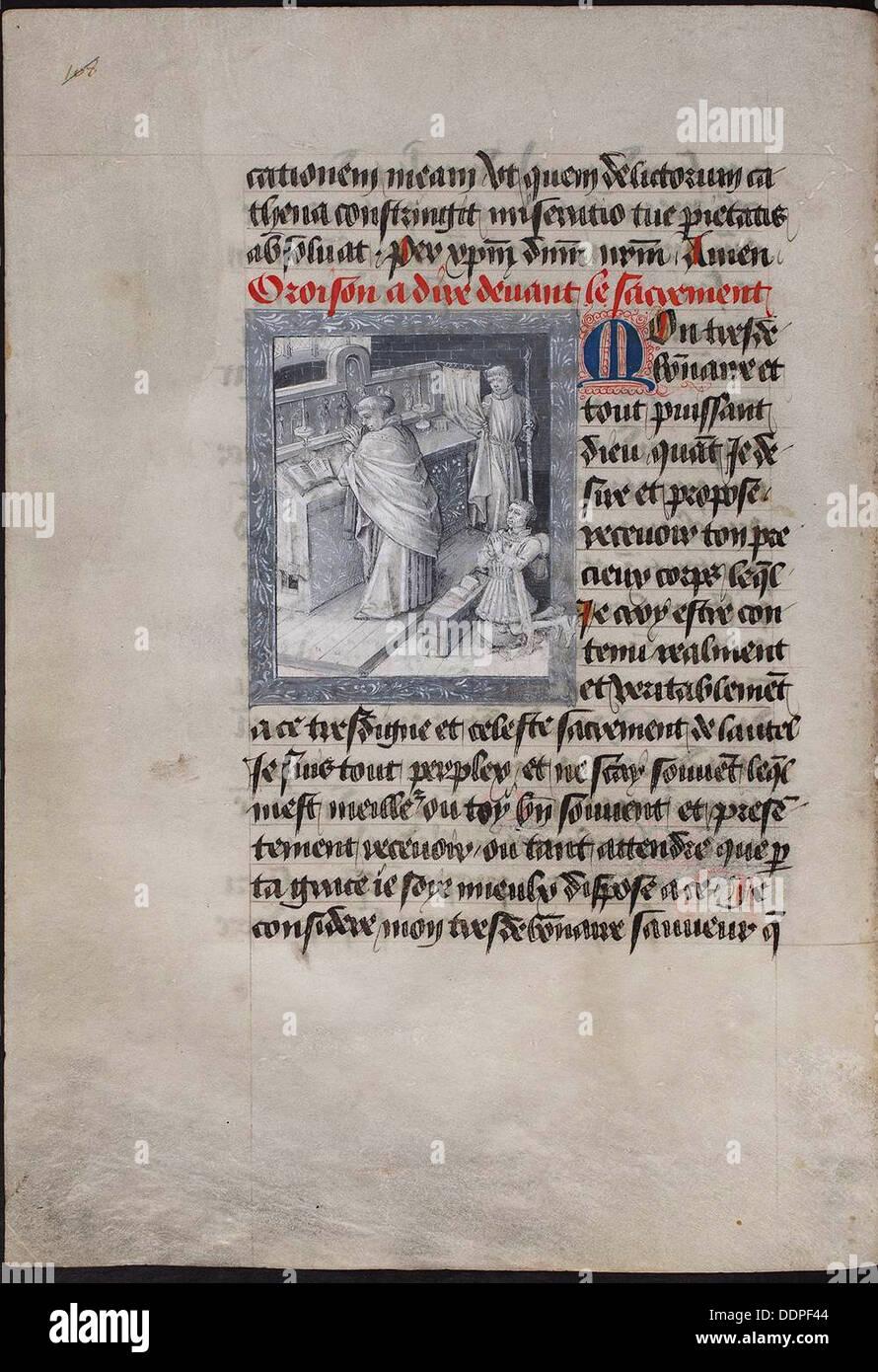 Santa Messa con Filippo il Buono. (Il Libro delle Ore di Filippo di Borgogna), ca 1455. Artista: Tavernier, Jean (attivo 1434-1460) Immagini Stock