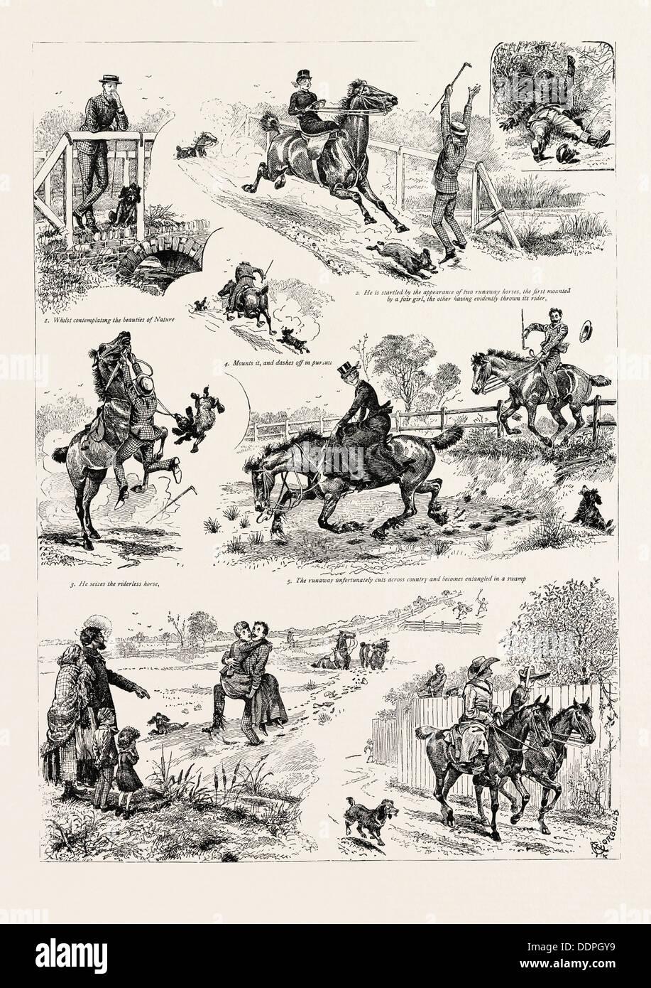 Le avventure di due cavalli di Runaway, e che cosa è venuto di esso, incisione 1890, immagine incisa, storia, arkheia Immagini Stock