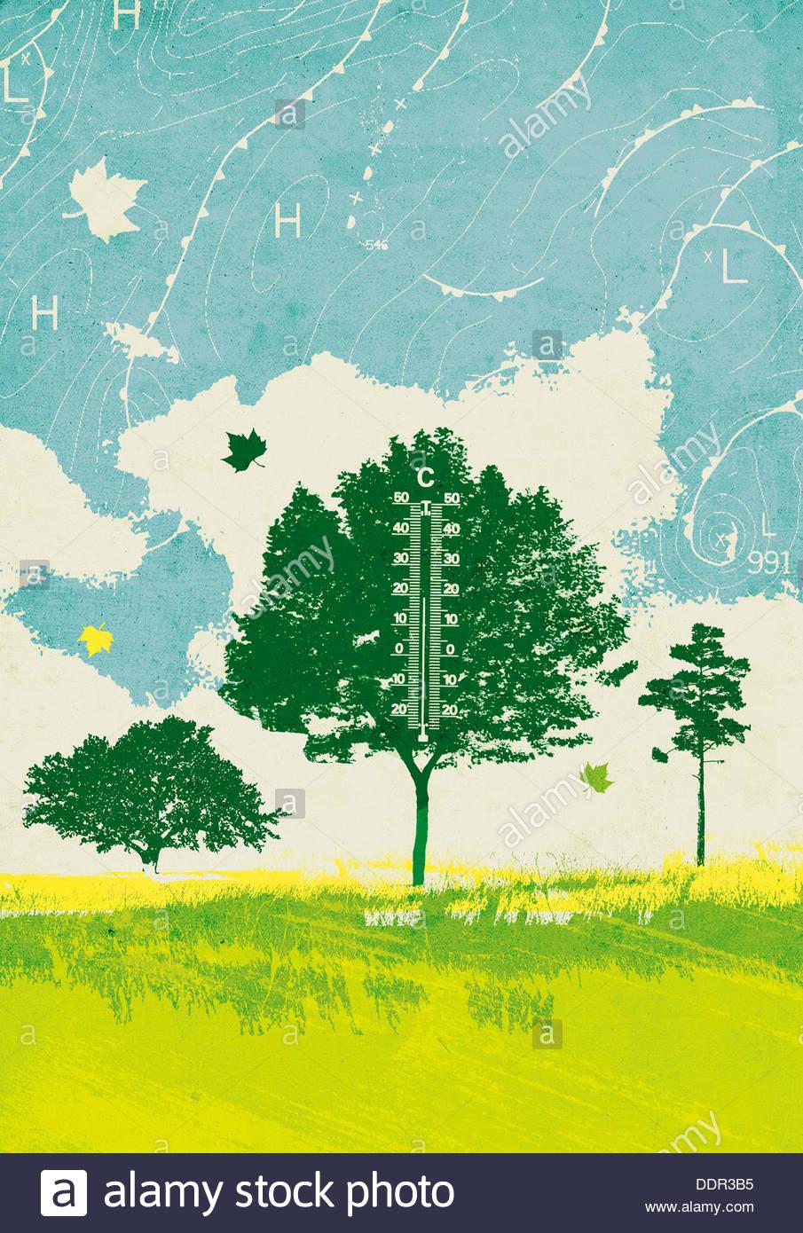Simboli di meteorologia intorno all albero con termometro Immagini Stock